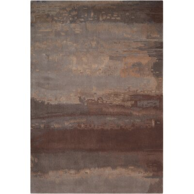 Luster Wash Hand Woven Wool Slate/Brown Area Rug Rug Size: 16 x 23