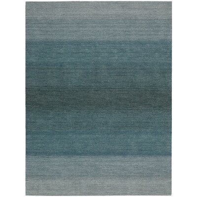Linear Glow Hand-Woven Watercolor Aqua Area Rug Rug Size: 79 x 1010