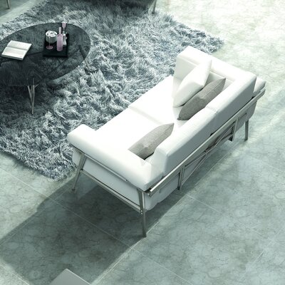 Eden Loveseat with Cushions Color: Grey / White, Fabric: Sunproof