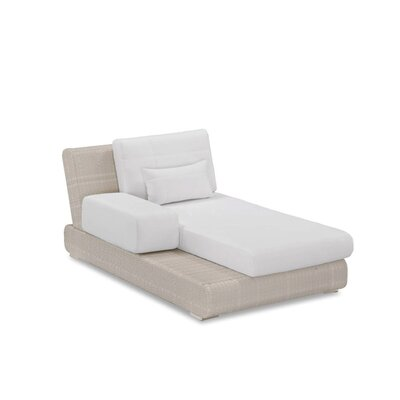 Sumba Lounge Bed Sectional Piece with Cushions Fabric: Sunproof White