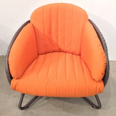 100 Essentials Circle Single Sofa with Cushions - Finish: Java Antique, Fabric: Sunproof Turquoise