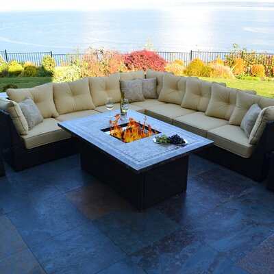 South Beach 12 Piece Fire Pit Seating Group with Cushion
