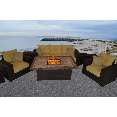 South Beach 8 Piece Fire Pit Seating Group with Cushion