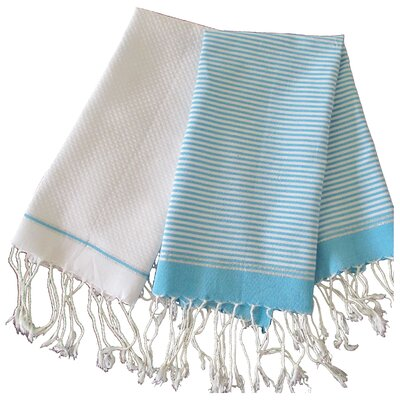 Lurex Fouta Hand Towel Color: Turquoise / White