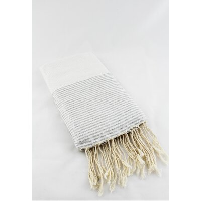 Fouta Honeycomb Stripe Bath Towel Color: White/Silver