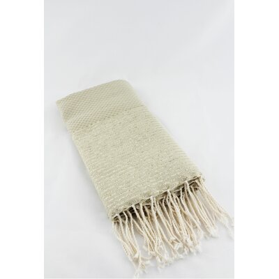 Fouta Honeycomb Stripe Bath Towel Color: Beige/Gold