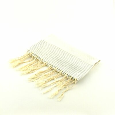 Fouta Honeycomb Stripe Hand Towel Color: White/Silver