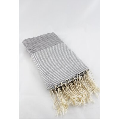 Fouta Honeycomb Stripe Bath Towel Color: Gray/Silver