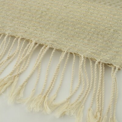 Fouta Honeycomb Stripe Hand Towel Color: Beige/Gold