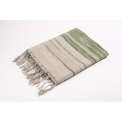 Fouta Linen Cotton Bath Towel Color: Green/Frey