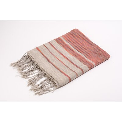 Fouta Linen Cotton Bath Towel Color: Red/Grey