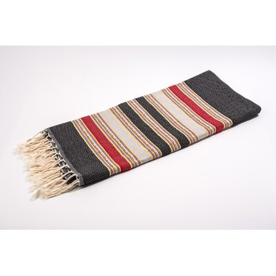 Fouta Traditional Stripes Bath Towel Color: Black