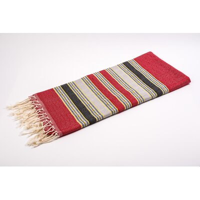 Fouta Traditional Stripes Bath Towel Color: Red