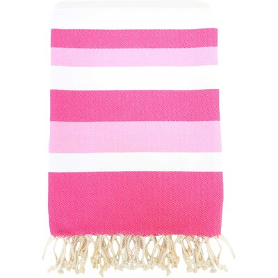 Fouta Ibiza Bath Sheet Color: White / Fushia