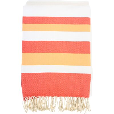 Fouta Ibiza Bath Sheet Color: White / Orange