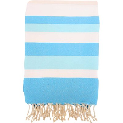 Fouta Ibiza Bath Sheet Color: White / Turquoise