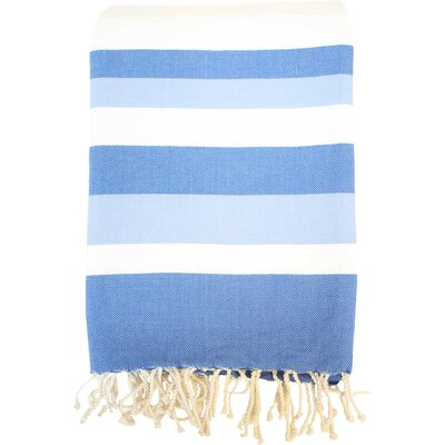 Fouta Ibiza Bath Sheet Color: White / Blue