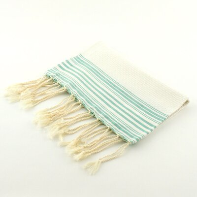 Guest Towel Positive Negative Hand Towel (Set of 2) Color: White/Aqua