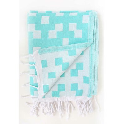 Hampton Fouta Bicolor Bath Sheet Color: Aqua/White