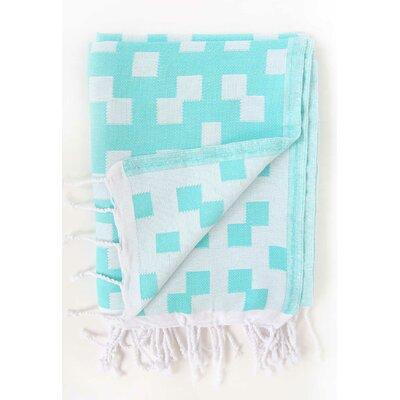 Hampton Fouta Bicolor Bath Sheet Color: Aqua/White