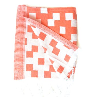 Hampton Fouta Bicolor Bath Sheet Color: Orange/White