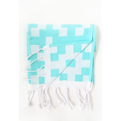 Hampton Guest Bicolor Hand Towel (Set of 2) Color: Aqua/White