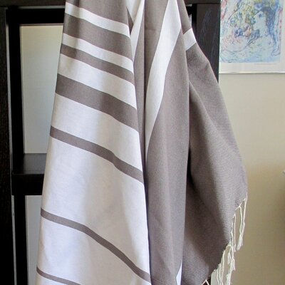 Fouta Striped Bath Towel Color: White / Mink