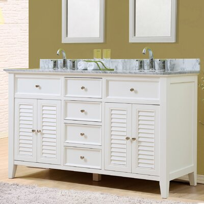 Shutter 60 Double Vanity Set Top Finish: White Carrara