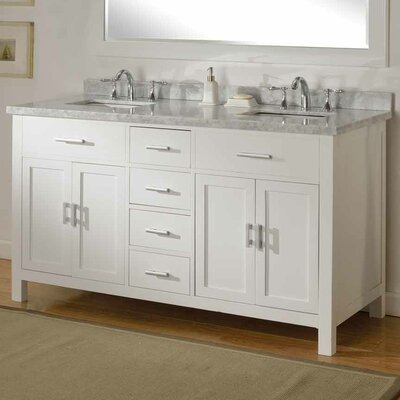 Hutton Spa 63 Double Vanity Set Top Finish: White Carrara, Base Finish: Pearl White