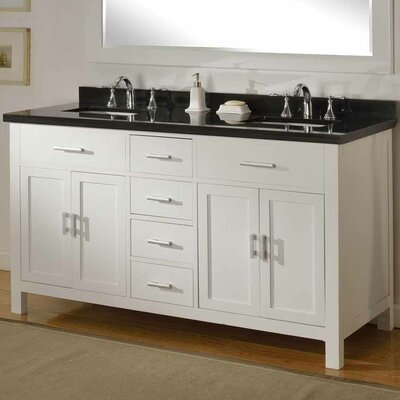 Hutton Spa 63 Double Vanity Set Top Finish: Black Granite, Base Finish: Pearl White