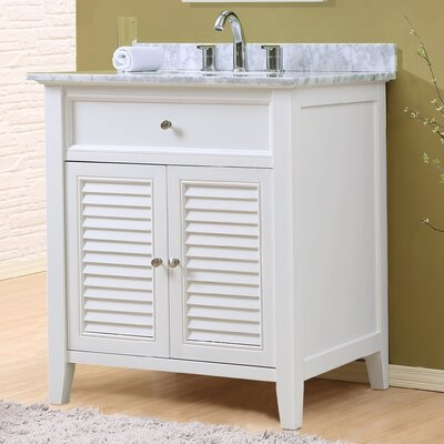 Shutter 32 Single Vanity Set Top Finish: White Carrara