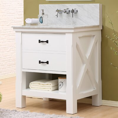 Xtraordinary Spa 32 Single Vanity Set Top Finish: White Carrara