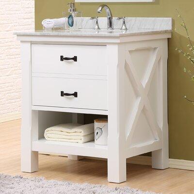 Xtraordinary Spa 32 Single Vanity Set Top Finish: White Carrara