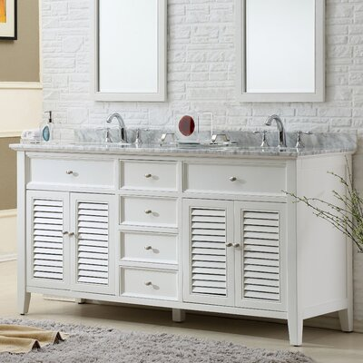 Shutter 70 Double Vanity Set Top Finish: White Carrara