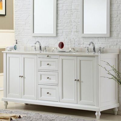 70 Double Vanity Set Top Finish: White