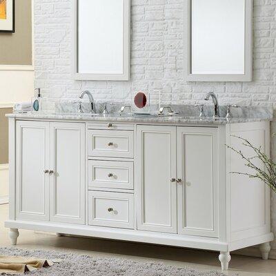 70 Double Vanity Set Top Finish: White Carrara