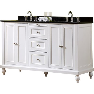 60 Double Vanity Set Top Finish: Black Granite