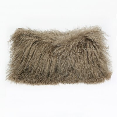 Tibetan Lamb Wool Lumbar Pillow Color: Stone