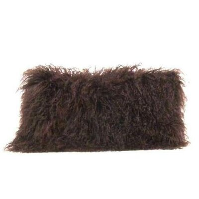 Tibetan Lamb Wool Lumbar Pillow Color: Brown