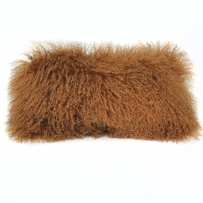 Tibetan Lamb Wool Lumbar Pillow Color: Saddle
