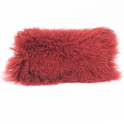Tibetan Lamb Wool Lumbar Pillow Color: Red