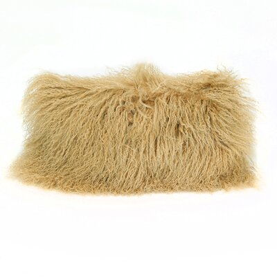 Tibetan Lamb Wool Lumbar Pillow Color: Camel