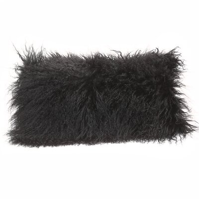 Tibetan Lamb Lumbar Pillow Color: Black