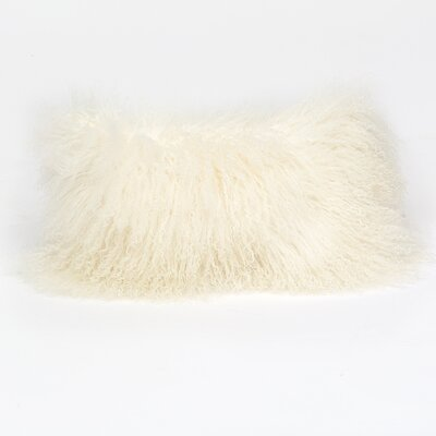 Tibetan Lamb Wool Lumbar Pillow Color: White