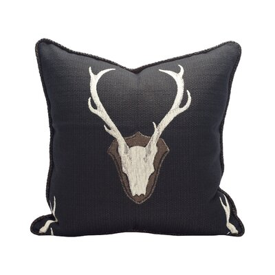 Oh Deer 100% Cotton Throw Pillow Color: Black