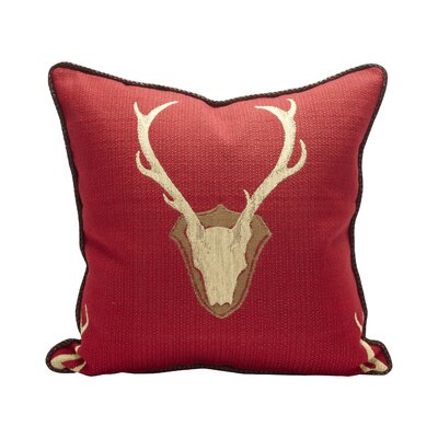Oh Deer 100% Cotton Throw Pillow Color: Red