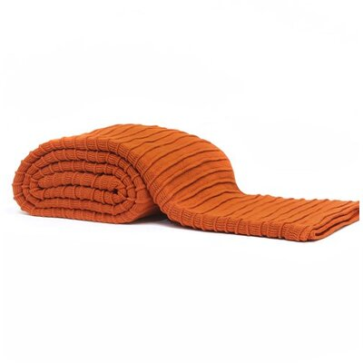 Pleated Knit Throw Color: Terra Cotta