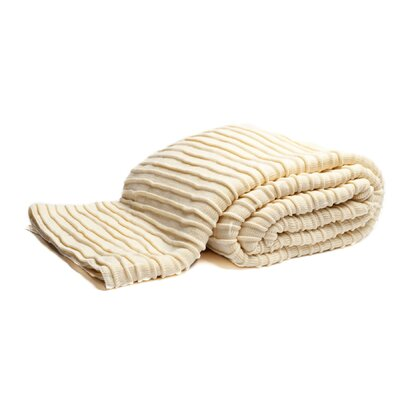 Pleated Knit Throw Color: Ivory