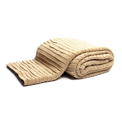 Pleated Knit Throw Color: Camel