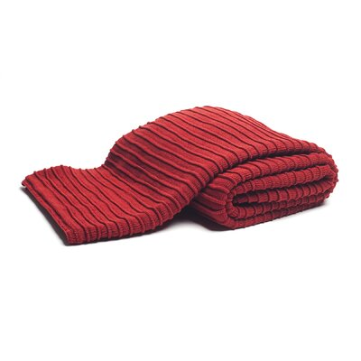 Pleated Knit Throw Color: Red